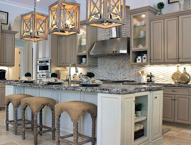 Tan And Grey Kitchen That Will Leave You Drooling! Love The Three  Chandeliers Over The