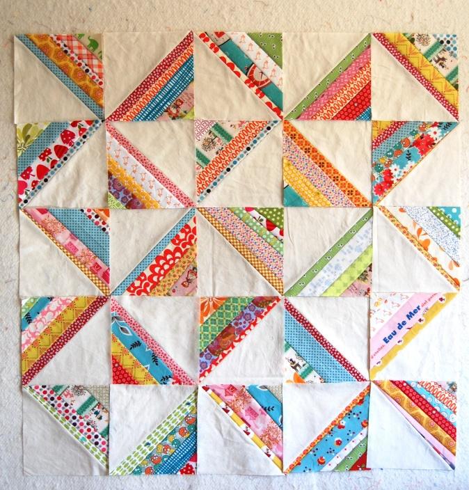 Scrappy Strings Quilt blocks. Pretty!