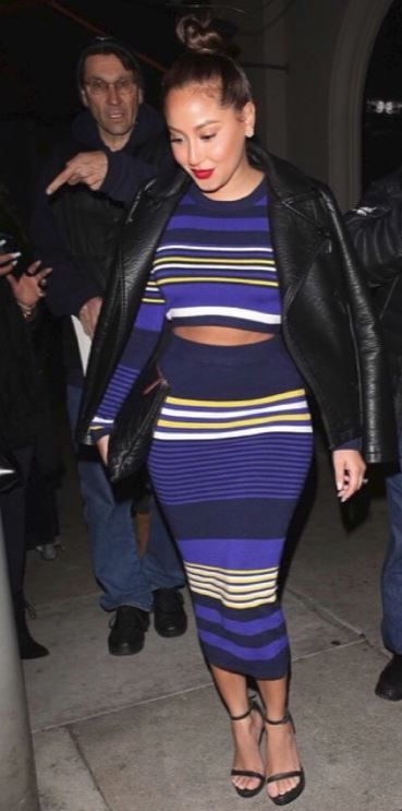 RONNY KOBO Adrienne Bailon Adrienne Bailon Wearing Ronny Kobo Emma Crop Top and Skirt In West Hollywood