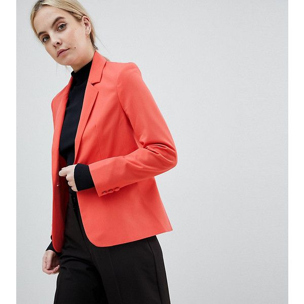 ASOS PETITE The Tailored Blazer Mix & Match ($63) ❤ liked on Polyvore featuring outerwear, jackets, blazers, petite, pink, petite denim jacket, petite blazer, short-sleeve blazers, shoulder pad blazers and short blazer jacket