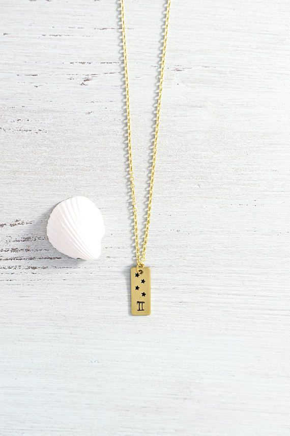 Gemini star sign necklace - Gemini zodiac symbol with stars bar necklace - Gold or silver Gemini zodiac necklace - Gemini horoscope necklace
