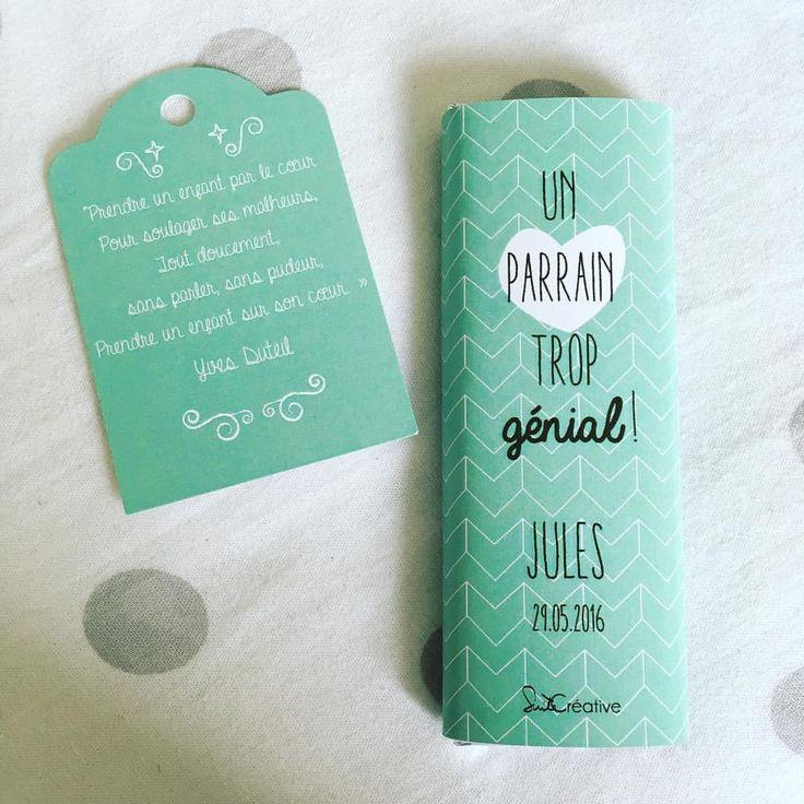 Mini tablette de chocolat, pour les parrains et marraines personnalisables