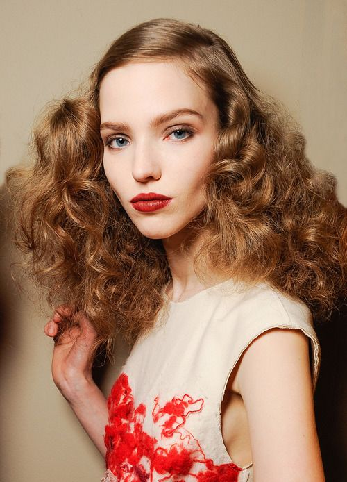 Berry Lip and Lovely Teased Curls
