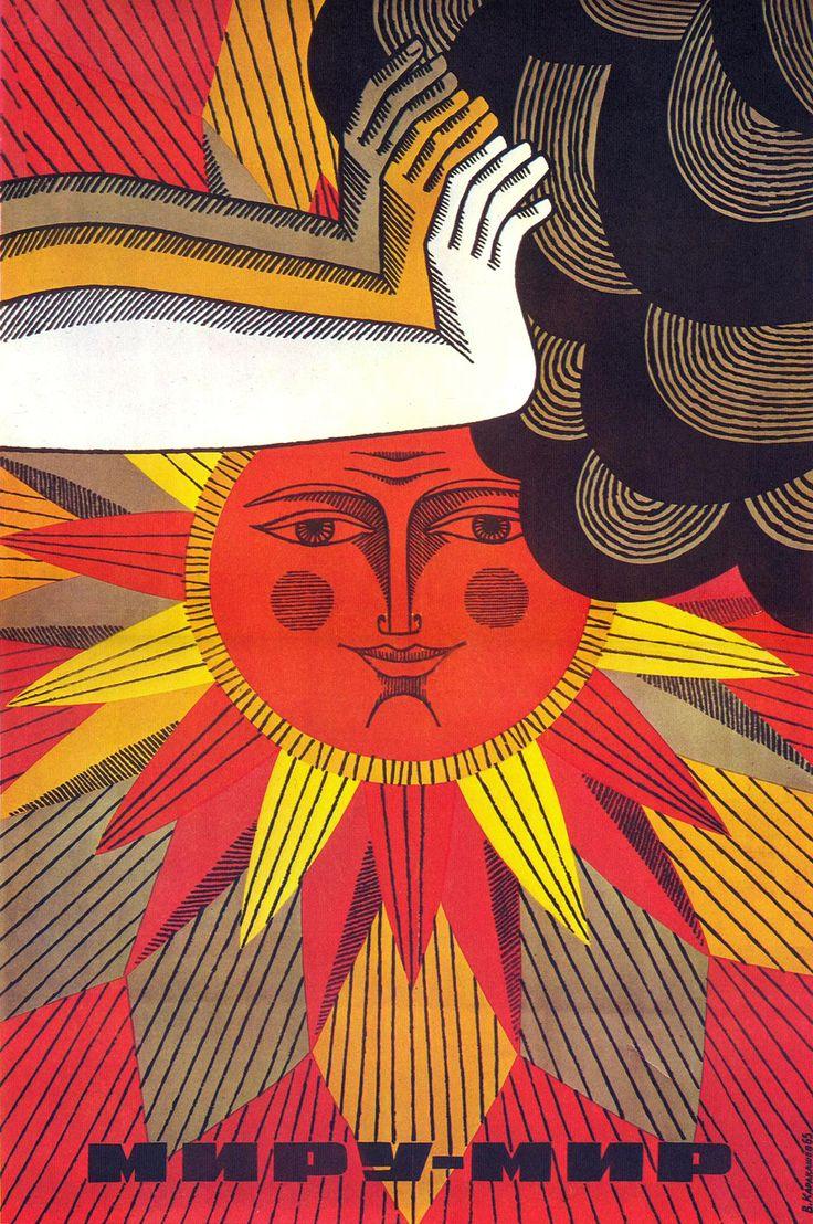 """Soviet political poster """"Peace to the World"""", Vilen Karakaschev, 1965"""
