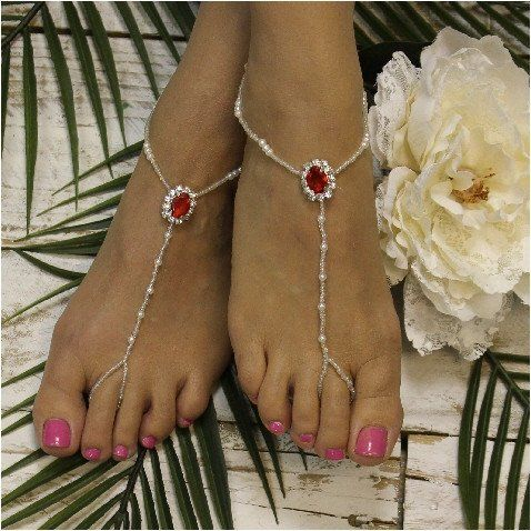 Our ruby red silver rhinestone beaded barefoot sandals add just right amount of sparkle to your beach wedding. The perfect accessory for your red beach wedding! Our stunning red jewel and silver hand
