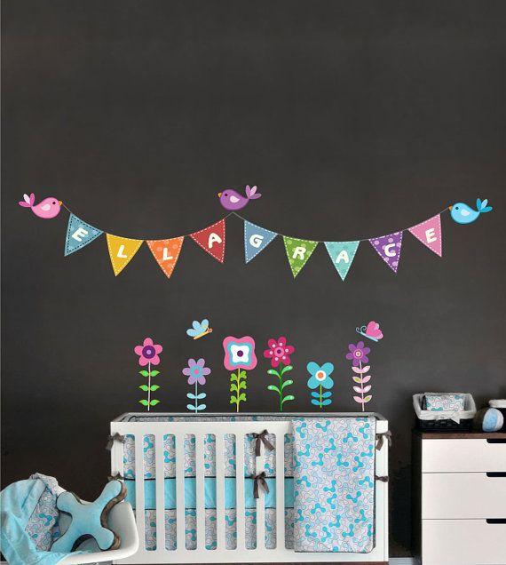 Nursery wall decal with baby name removable and reusable fabric vinyl sticker birds