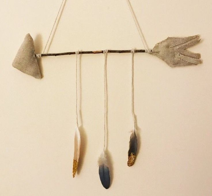 Gold dipped feathers natural woodland themed baby mobile handmade!  http://www.ebay.co.uk/itm/Baby-Nursery-Decor-Woodland-Arrow-With-Gold-Dipped-Feathers-Wall-Hanging-Mobile-/332258011746?ssPageName=STRK:MESE:IT