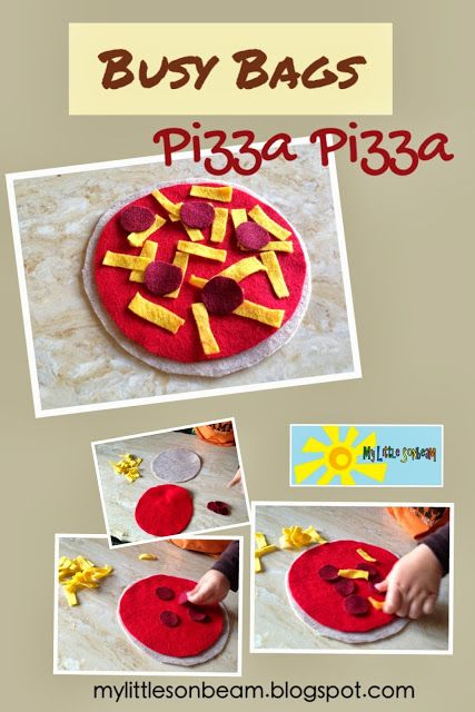 My Little Sonbeam: Busy Bags: Pizza Pizza! Easy no sew felt or flannel busy bag or quiet book pizza.  Mylittlesonbeam.blogspot.com Follow on Facebook Homeschool preschool learning activities for 2,3 and 4 year olds