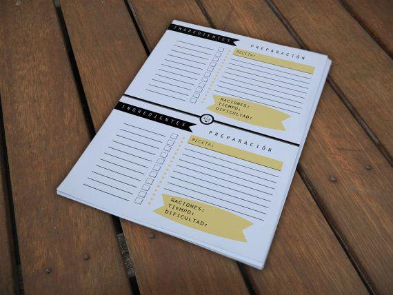 recetario imprimible para organizar las recetas y por TheLoveatc