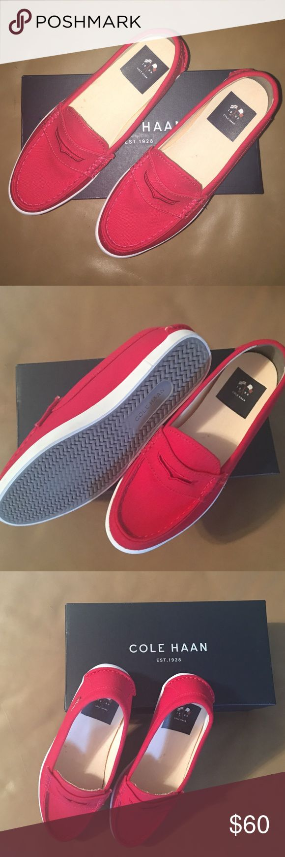 Labor Day Sale‼️Cole hann canvas loafers Cute red loafers! New, never worn, with box! Cole Haan Shoes Flats & Loafers