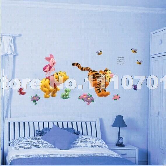 Животных мультфильм винни пух виниловые стены стикеры для детей номеров мальчики девушка домашнего декора наклейки на стены украшения дома обои дети купить на AliExpress