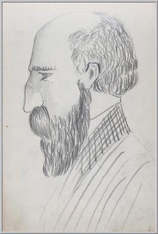 Mario Tozzi 1912: Ritratto di Professore IV. Disegno matita e inchiostro - cm.11x17 - Collezione eredi Brunetti-Laderchi Bologna - Archivio n.405.