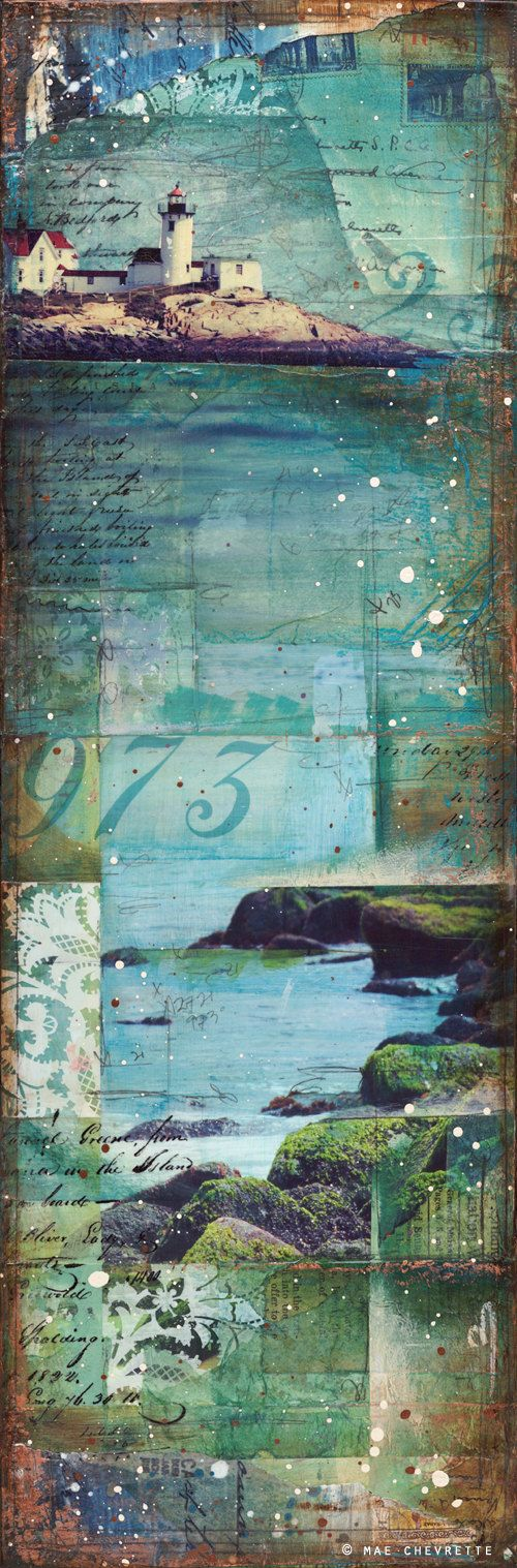 """Kleine Cape Ann Nr. 2 - 8 """"x 24"""" original Mischtechnik auf Leinwand - nautische Leuchtturm Strand Collage mit Typografie-text"""
