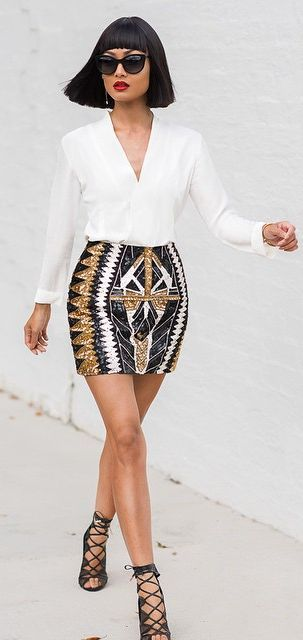 Sequined Skirt Outfit Idea by Micah Gianneli