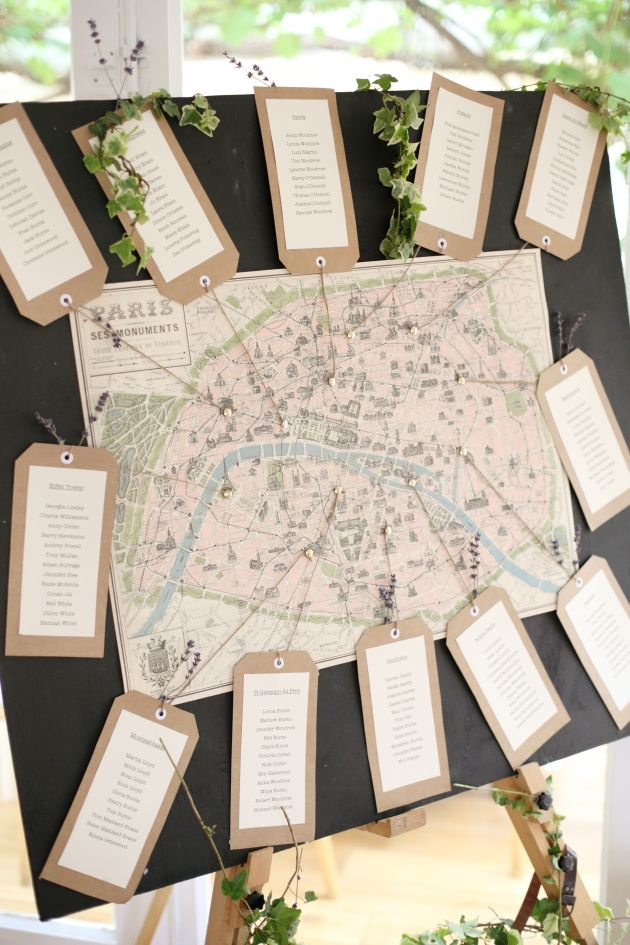Map Of Paris Table Plan - Dasha Caffrey Photography | Bridal Musings See more from this wedding: http://bridalmusings.com/2013/09/elegant-english-countryside-wedding-dasha-caffrey-photography/