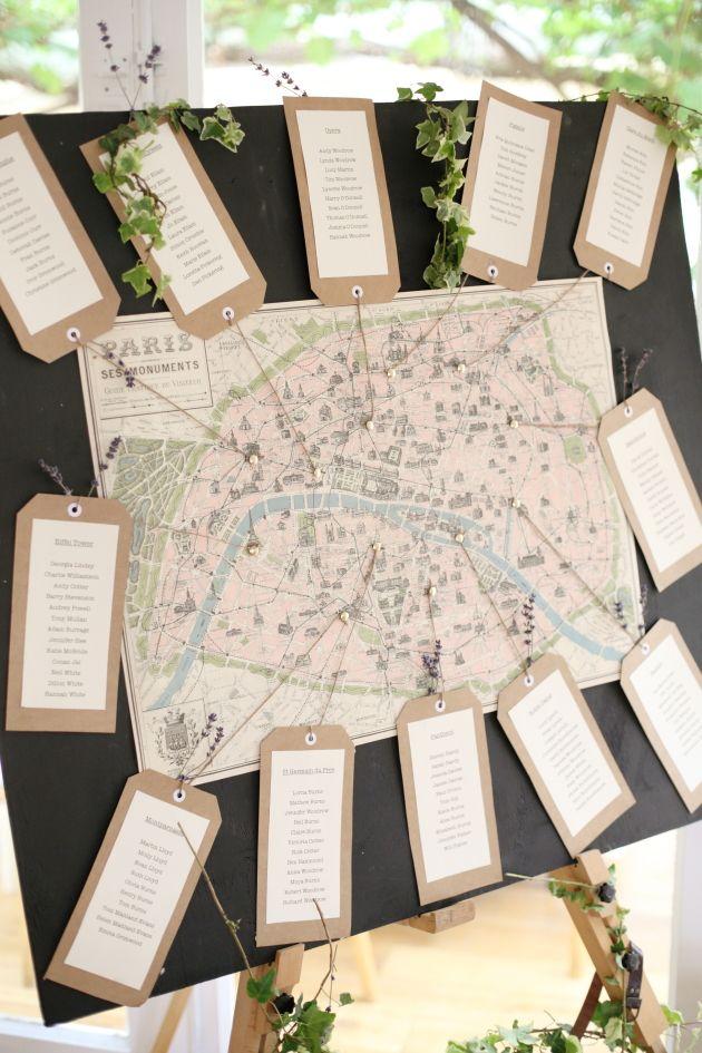 Map Of Paris Table Plan - Dasha Caffrey Photography | Bridal Musings   See more from this wedding: http://bridalmusings.com/2013/09/elegant-english-countryside-wedding-dasha-caffrey-photography/