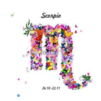 signe astrologique: Motif de papillons, signe du zodiaque mignon - scorpion Illustration