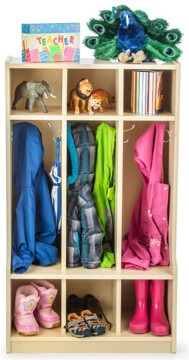Children's Storage Display with 9 Total Cubbies, Coat Hangers – Maple Finish