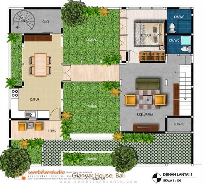 Denah Rumah Dengan Indoor Garden Guest House Plans Home Design Plans House Plans