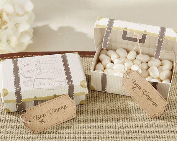 If you want to impress your guests, give them a vintage suitcase favor box filled with treats inspired by your wedding theme.