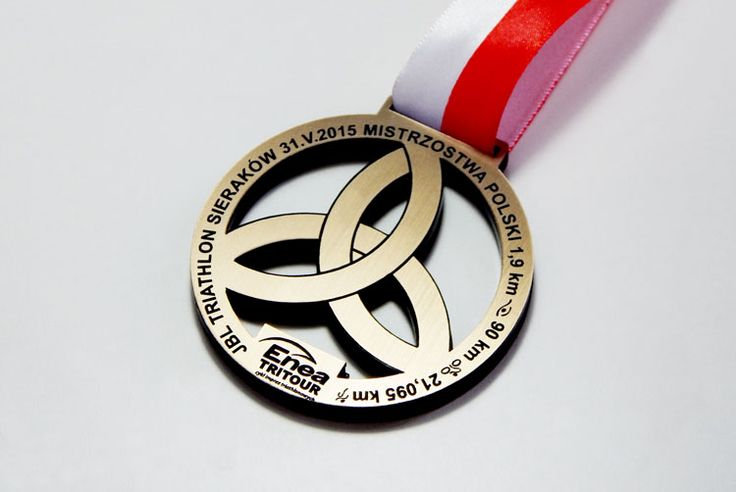 Medal of sports - TRIATHLON Medal made ​​of a laminate of the engraving in a golden color.