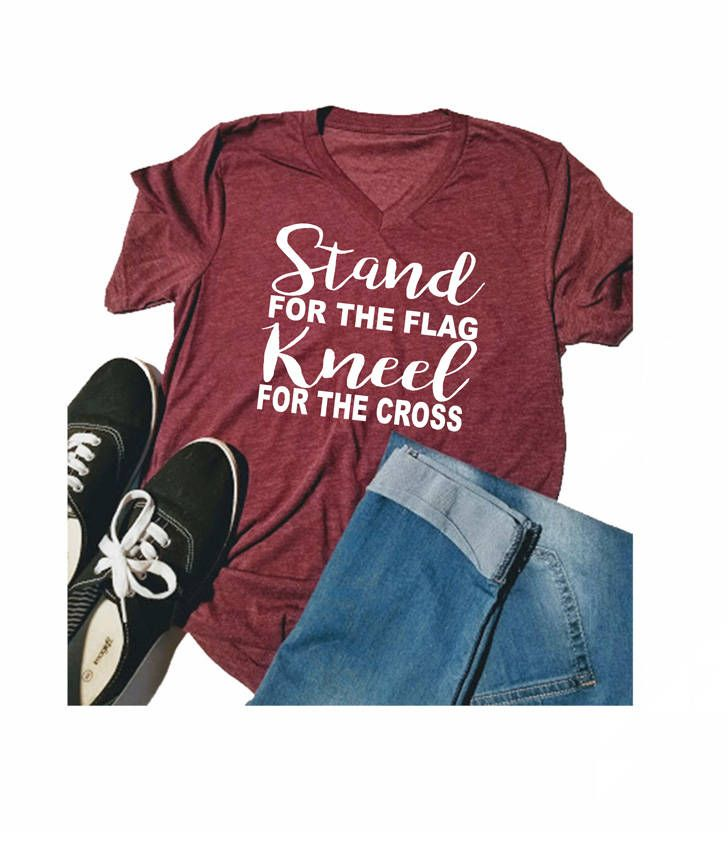 Stand for the Flag Kneel for the Cross Shirt - Women's V Neck Shirt - Stand for the Flag - Kneel for the Cross Shirt - lovemighty shirt by lovemighty on Etsy