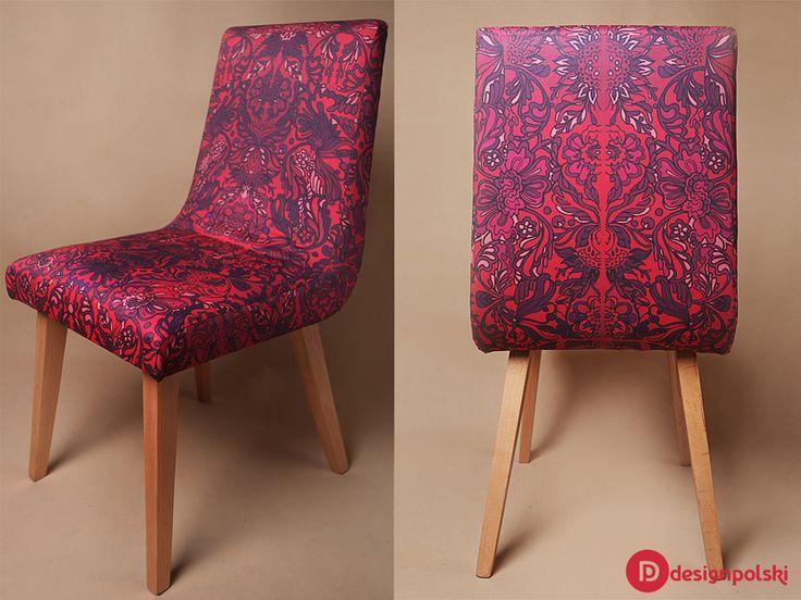 Wzorzyste krzesło ŁYSKA z lat 50. - Design-Polski - Meble