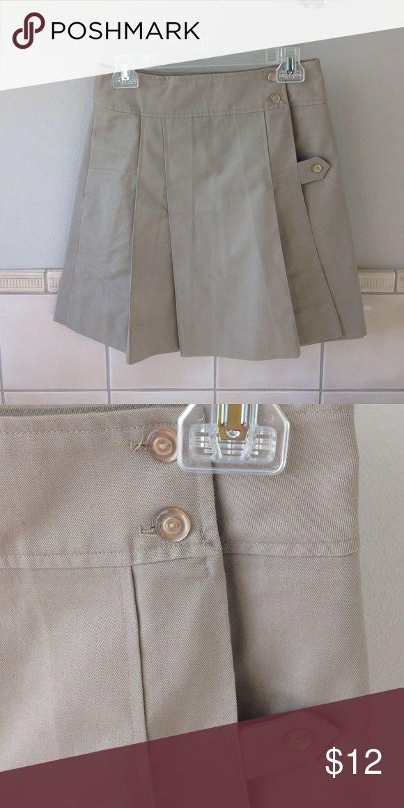 Khaki pleated Catholic school uniform style kilt Khaki pleated wrap skirt in Catholic school uniform kilt style. Fits S. Skirts