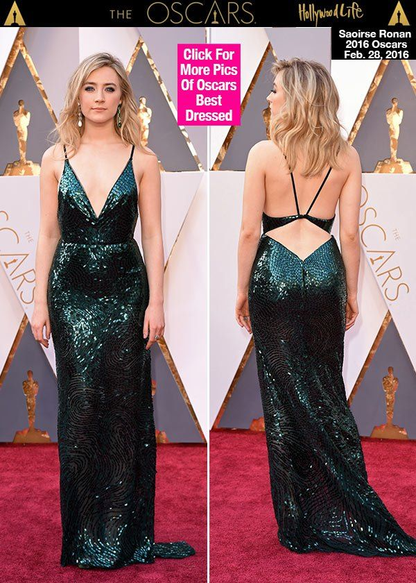 Saoirse Ronan's Oscar dress sparkled as she rocked the red carpet at the Academy Awards, where she looked gorgeous in a green sequin Calvin Klein gown -- from the plunging neckline to the bare back, it was one of the most daring dresses we've ever seen on the star! Did you totally love the look as much as we did?