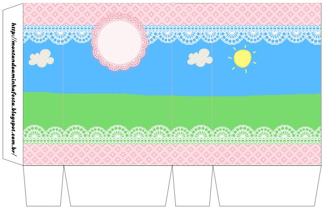 Country field with Pink Lace: Free Printable Boxes.