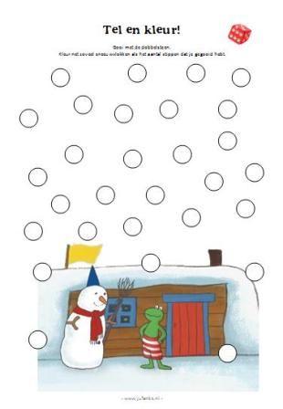 Tel en kleur, spel voor kleuters Winter kleuters | Thema, Lesidee Juf Anke