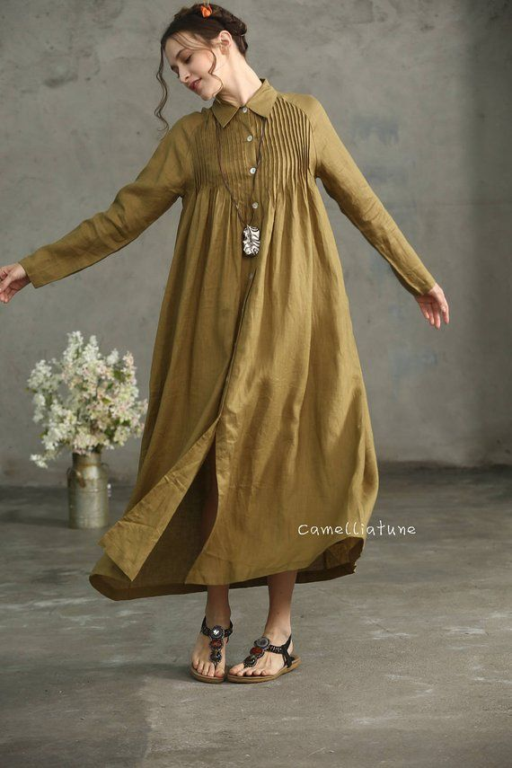 Natural linen tunic dress for women, made in soft and comfortable linen fabric. ...