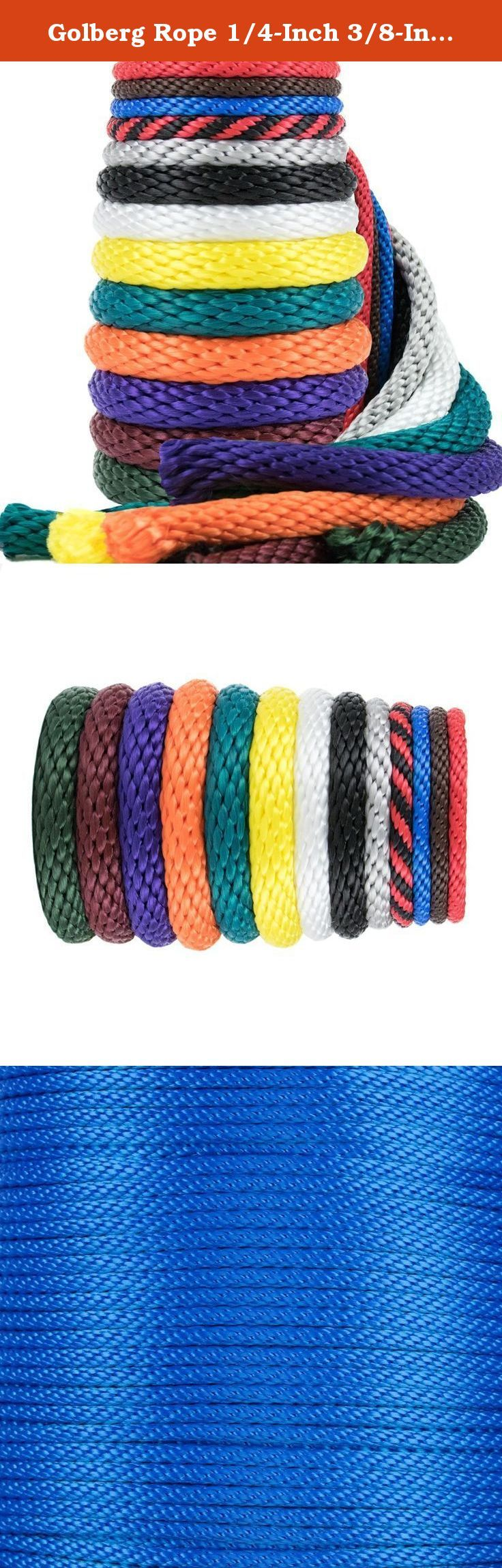 Golberg Rope 1/4-Inch 3/8-Inch 1/2-Inch 5/8-Inch 5/16 - Inch Solid Braid Utility Rope Made in USA - Multifilament Polypropylene MFP Derby Rope Boating Rope - Mildew Resistant - 100 X BLUE. If you're looking for basic, affordable, all-purpose and all-weather utility rope, this is it. Golberg Ropes's Multifilament Polypropylene MFP Rope, you will always be prepared to tie down or hoist up that deer from hunting, tie that pesky hose in your garage & hang it up, secure your boat to the dock…