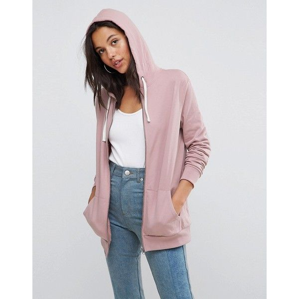 ASOS Zip Through Hoodie (37 CAD) ❤ liked on Polyvore featuring tops, hoodies, pink, tall hoodie, tall hoodies, zip hoodies, pink hoodies and pink zipper hoodie