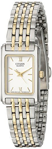 Citizen Women's Two-Tone Stainless Steel Watch with White Dial  Rectangular, two-tone stainless steel watch for women with white dial  Goldtone hour indices with Roman numeral 6 and 12  Imported