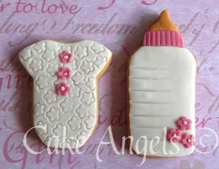 Girl Baby Onesie Cookie and Baby Bottle Cookie