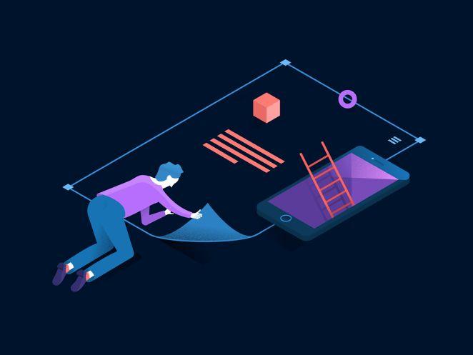 Isometric illustrations on digital design