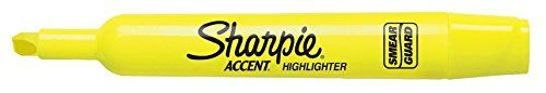 Sharpie Tank Style Highlighter, Chisel Tip, Fluorescent Yellow