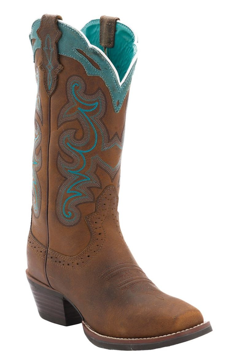 Justin® Ladies Silver Collection Brown Buffalo with Turquoise Detail Punchy Toe Western Boots