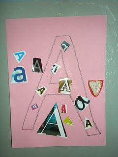 "Letter recognition. Cut out lots of letters and have him pick out the ""A's"" and stick them to the outline. Activities for toddlers"