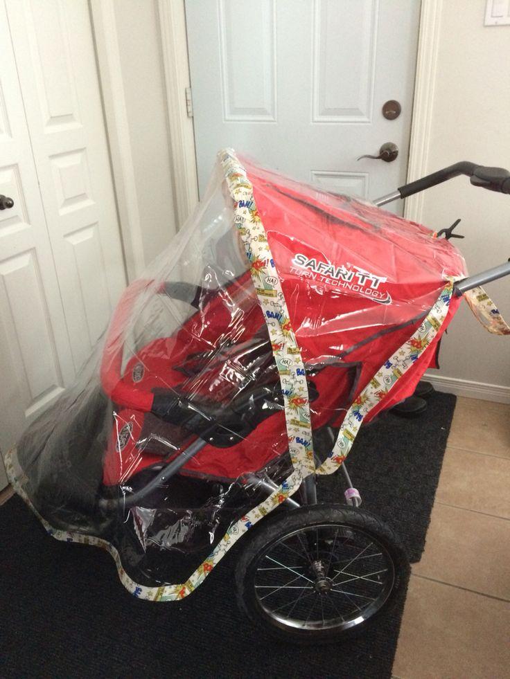DIY double stroller rain cover Duck tape & shower curtain
