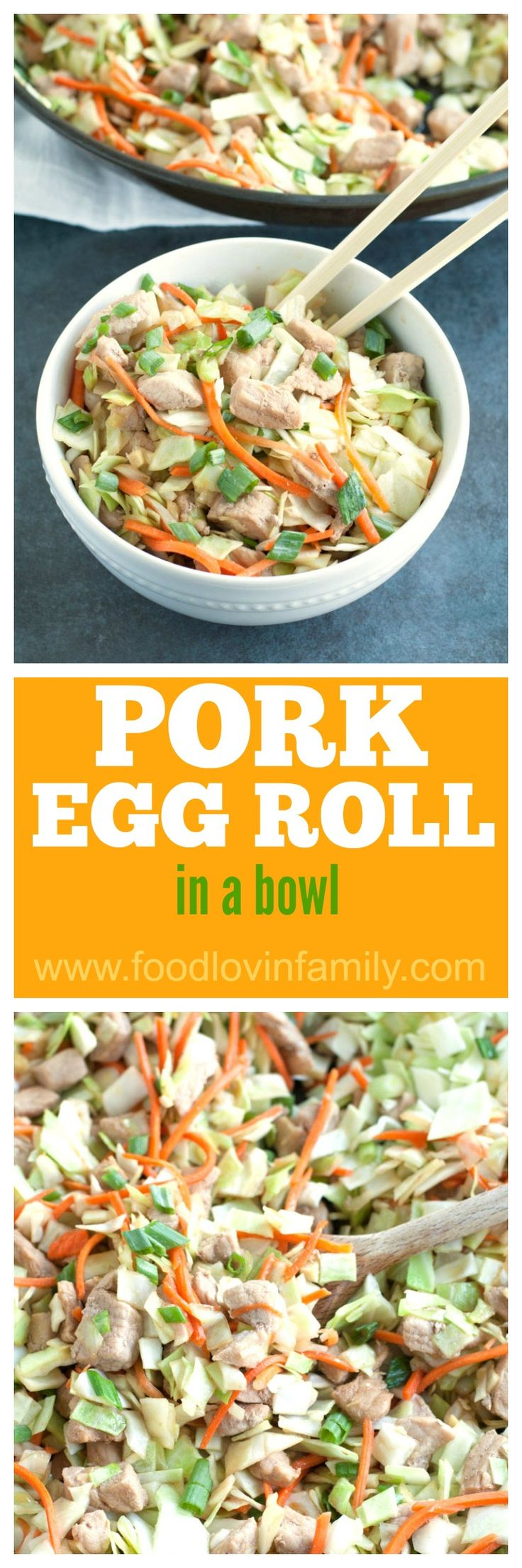 Pork Egg roll In A Bowl is a delicious twist on the classic egg roll. All of the flavor without the wrapper in 30 minutes. #ad #AllNaturalPork @Smithfield @Walmart