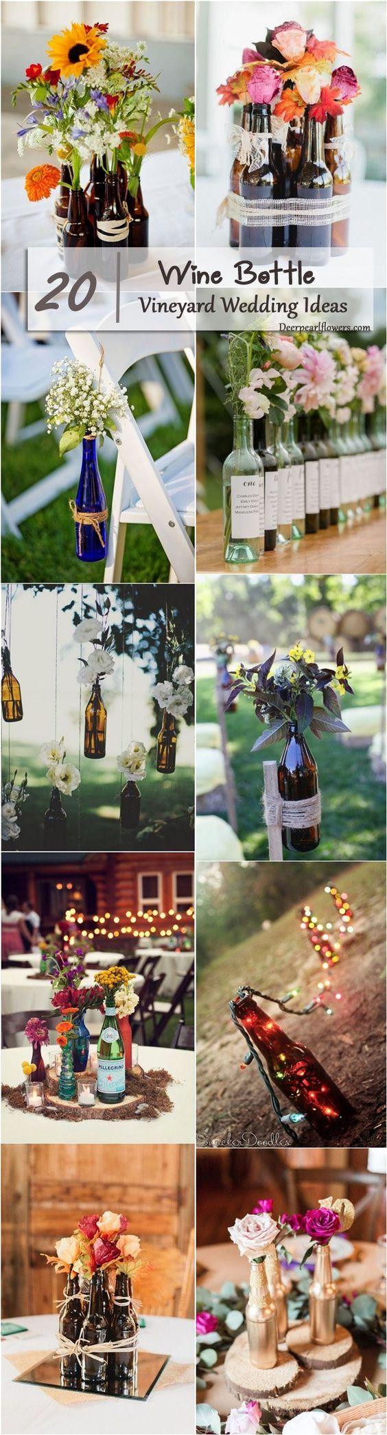 Botella viñedo boda ideas decoración