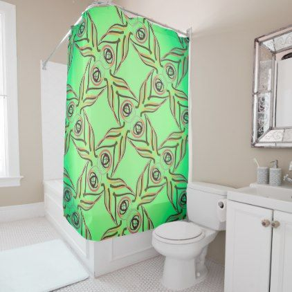 Curtain of shower Jimette Design red yellow green - shower curtains home decor custom idea personalize bathroom