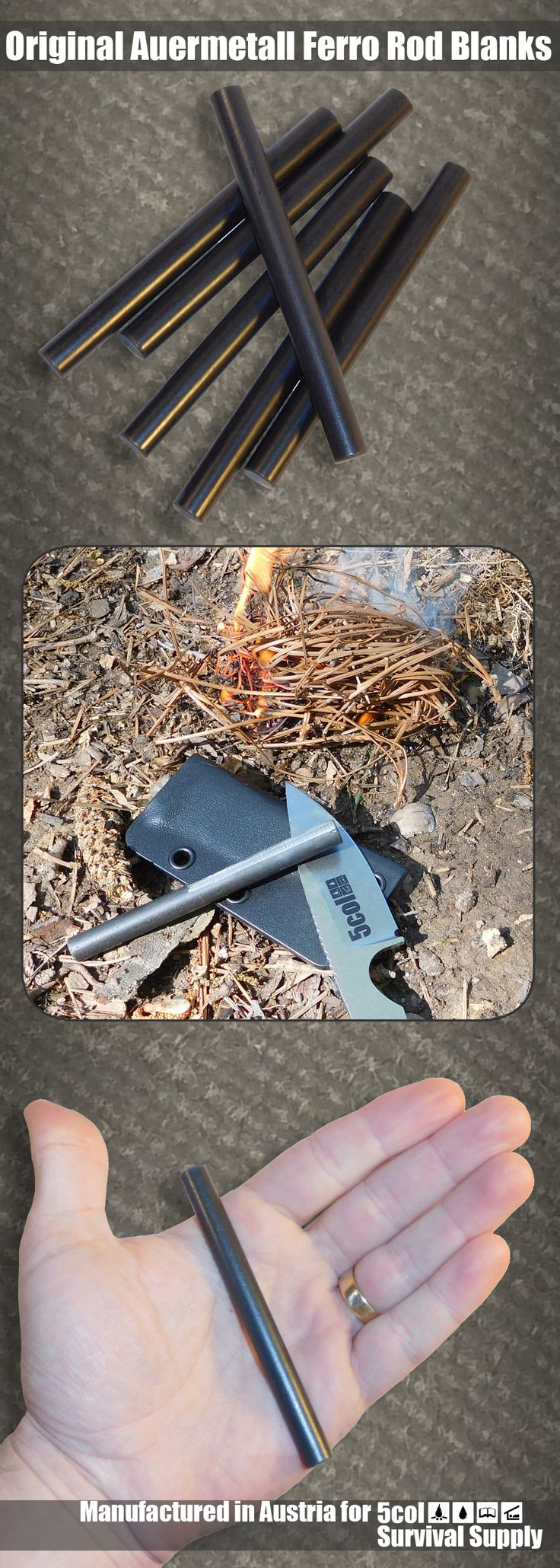Original Auermetall Ferro Rod Blanks, manufactured in Austria by Treibacher for 5col Survival Supply