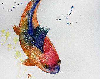 Original Watercolor Painting, fish, Koi Fish art, Gold Fish Sea, children room art, Goldfish, Ocean Shubunkin watercolor Art OOAK