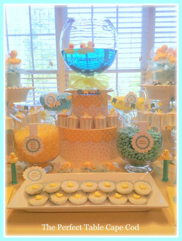 Rubber Ducky Yellow/ Blue Baby Shower Candy U0026 Dessert Buffet Table