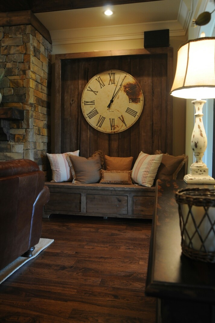 I love thisfor rustic  built in bench seat...and clock. It looks so cozy. Mistyleighphotography