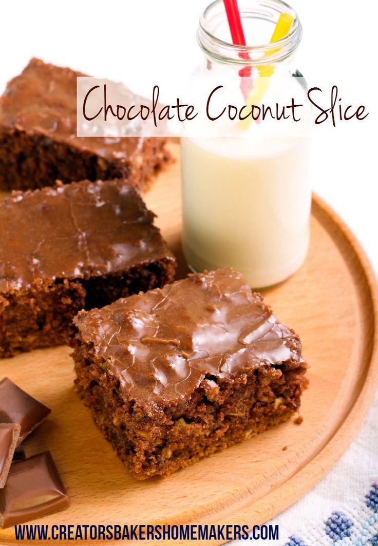 chocolate coconut slice pinterest