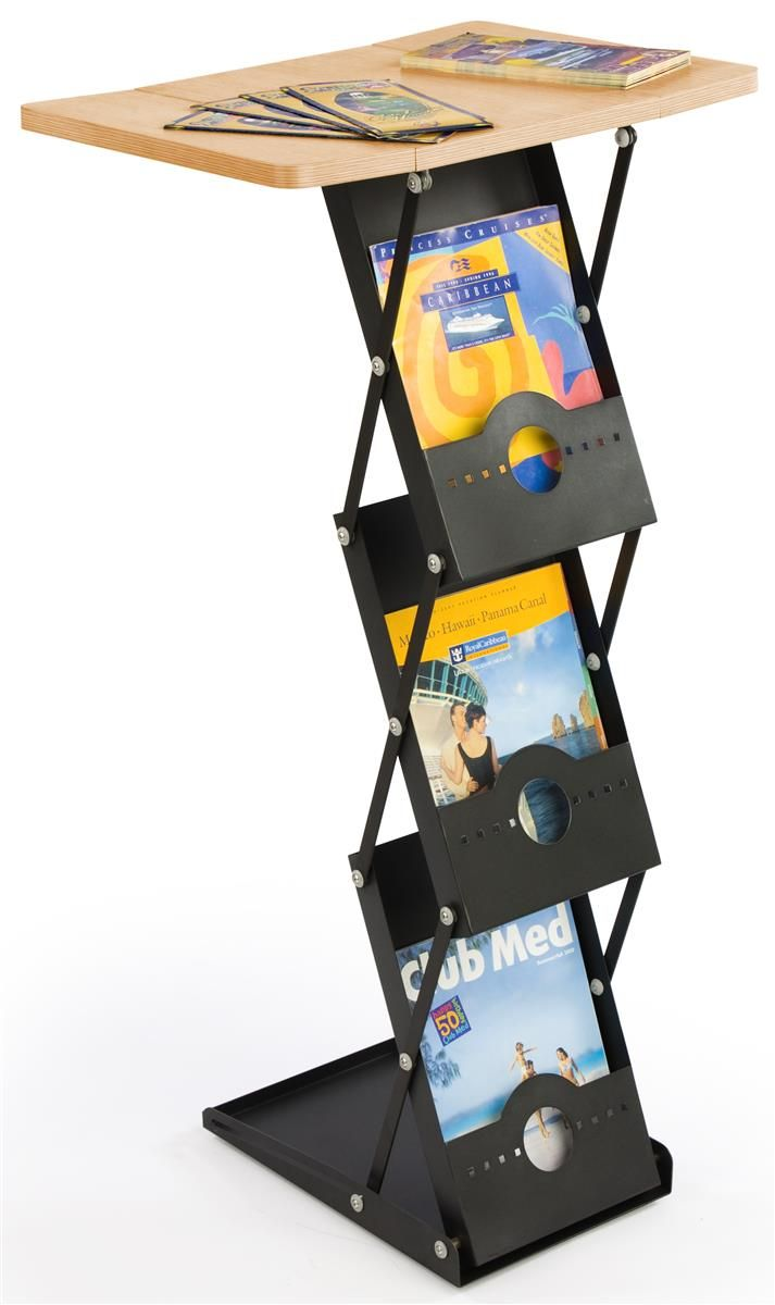 "40"" Tall Portable Counter with 3 Literature Pockets - Black"